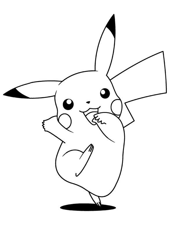 Coloriage de Pokémon, dessin Pikachu le plus connu à colorier
