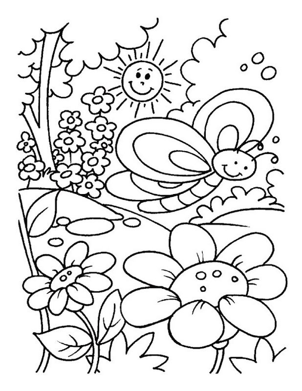 Coloriage de Printemps, dessin Paysage de printemps pour