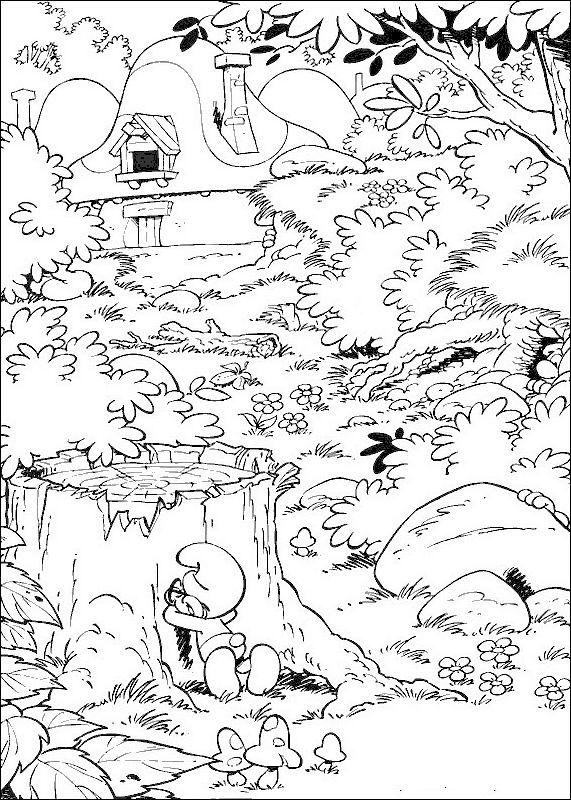 Coloriage de Schtroumpfs, dessin Il joue a cache cache à