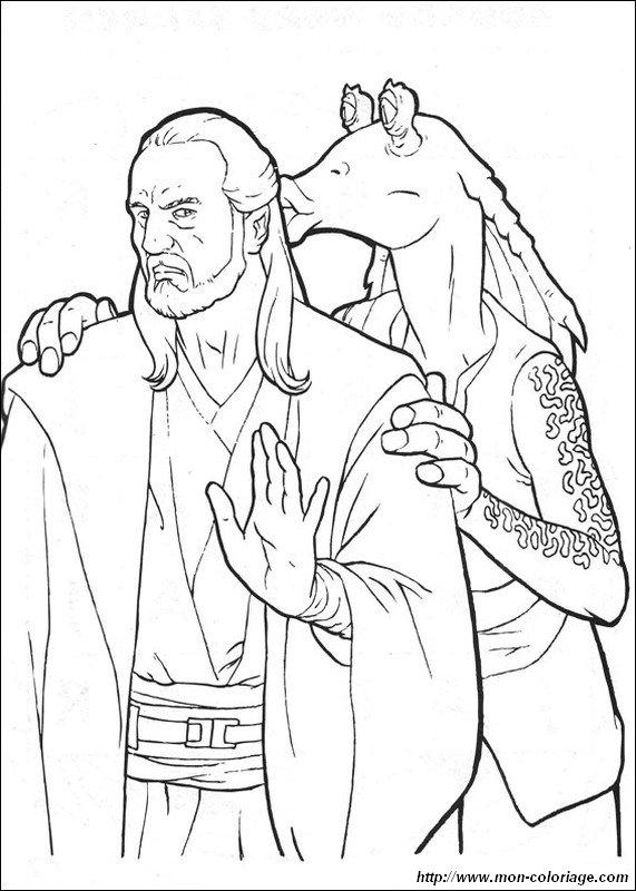 Coloriage de Star wars, dessin qui gon jinn et jar jar