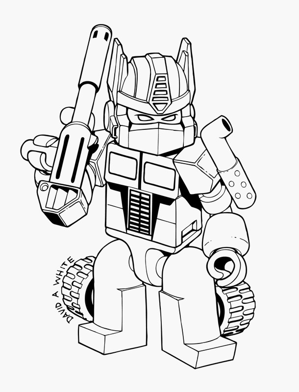 Coloriage de Transformer, dessin Un petit transformers à