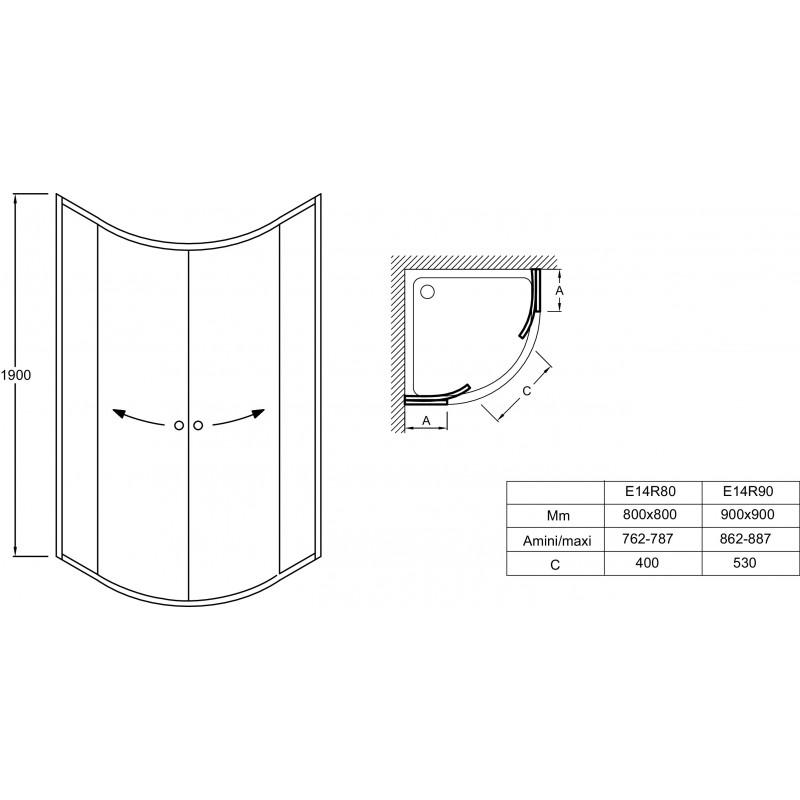 2 portes coulissantes acces 1 4 rond 80 x 80 x 190 cm serenity jacob delafon
