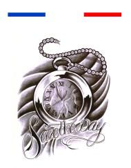 Tatouage Horloge Citation Temporaire
