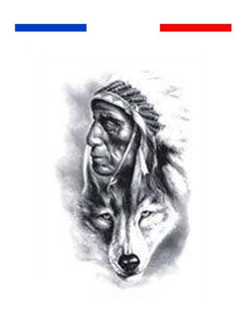 Tatouage Indien et Loup réaliste temporaire