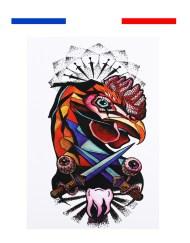 tatouage coq francais grapihique realiste temporaire