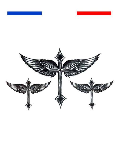 tatouage ailes ange croix realiste temporaire