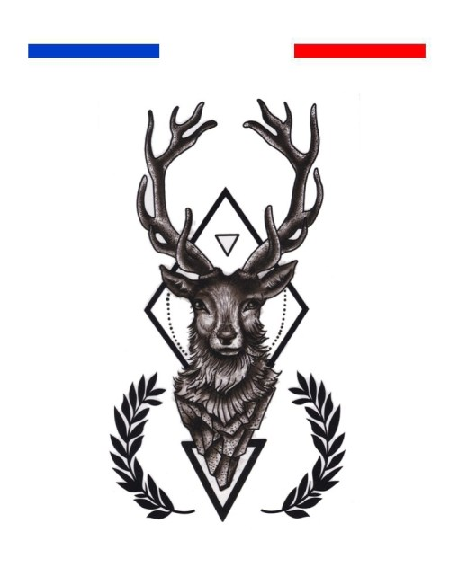 Tatouage Cerf Réaliste Géométrique et Flèches