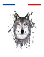 tatouage loup graphique couleur temporaire france