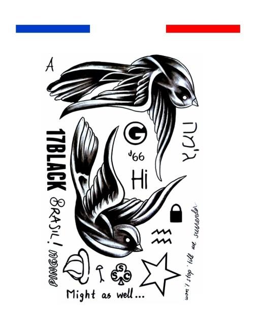 tatouage hirondelle old school noir et blanc