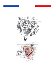 tatouage rose fleur triangle double