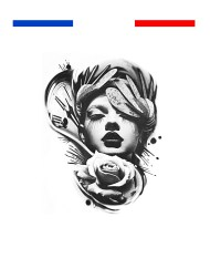 Tatouage portrait femme rose horloge