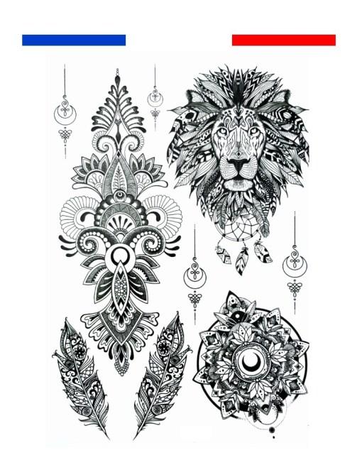tatouage lion temporaire mandala