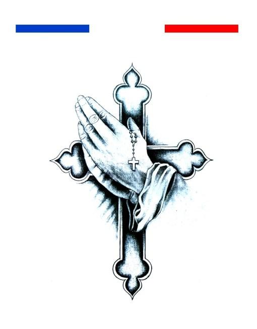 tatouage main croix chapelet priere