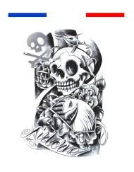 tatouage tete de mort réaliste composition homme