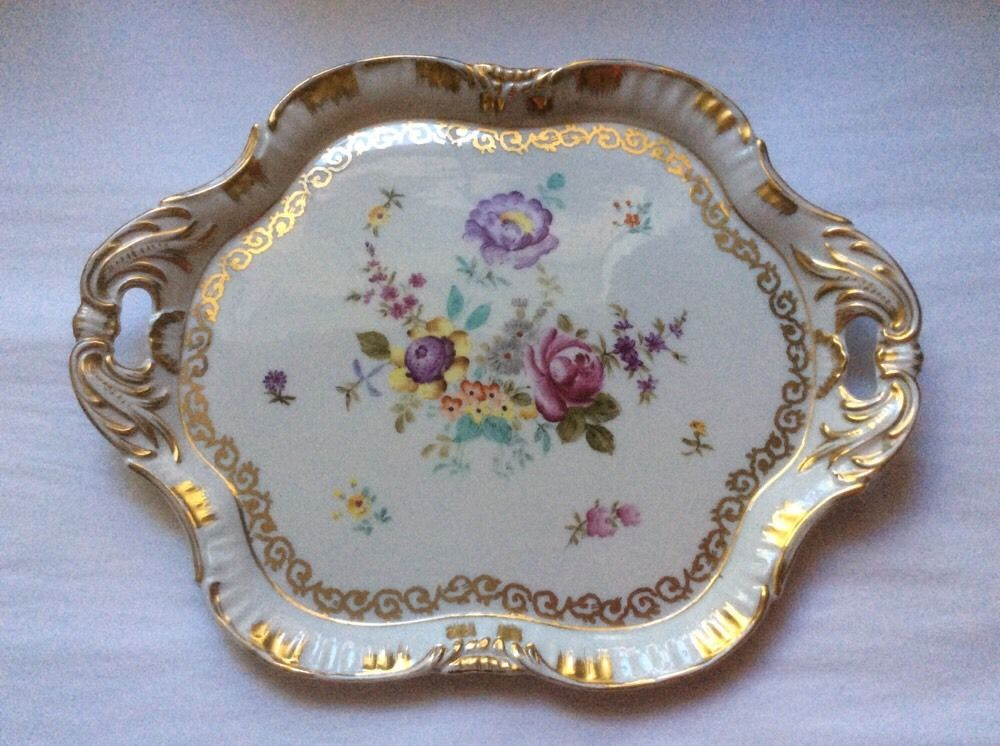 Antique Hand Painted German Porcelain Dresser Tray Platter p259