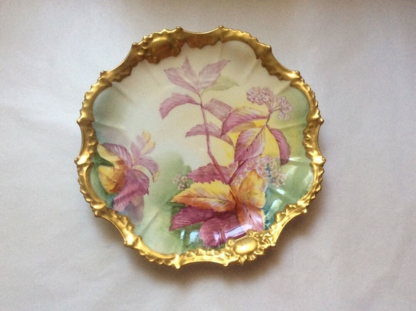 Antique Hand Painted Limoges Cabinet Plate Gold with