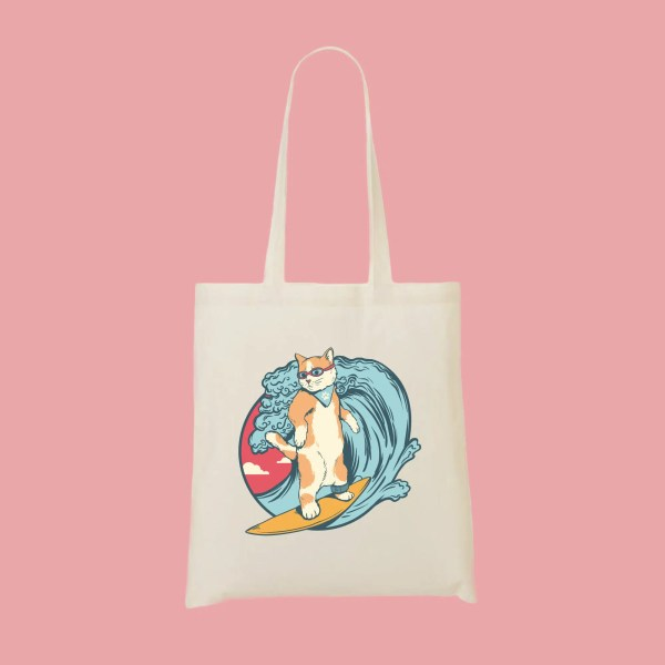 tote bag chat surfeur