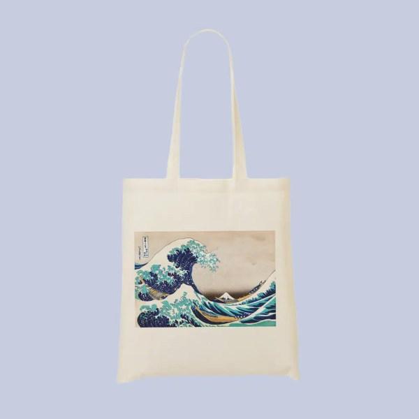 tote bag vague de hokusai