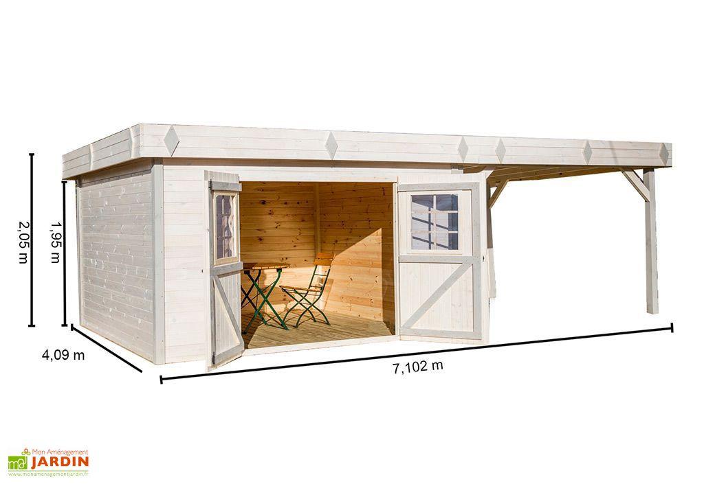 abri de jardin en bois 28 mm toit plat auvent 409x710x205cm