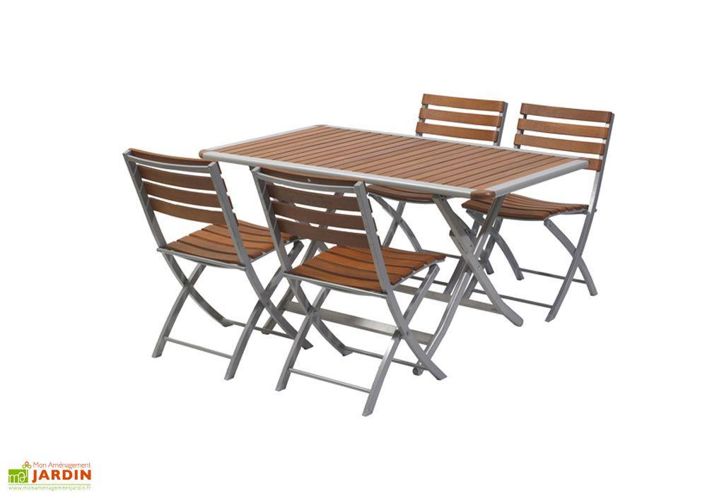 Table Jardin Pliante Bois Aluminium Acapulco 140x80  Table pliante aluminium et bois 140x180