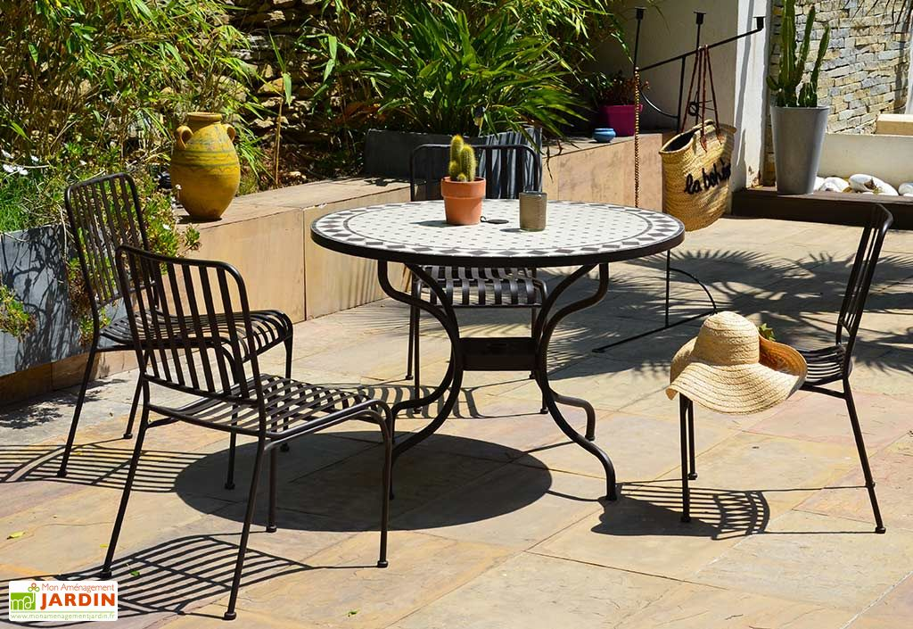 table de jardin ronde en metal et mosaique o 110 cm