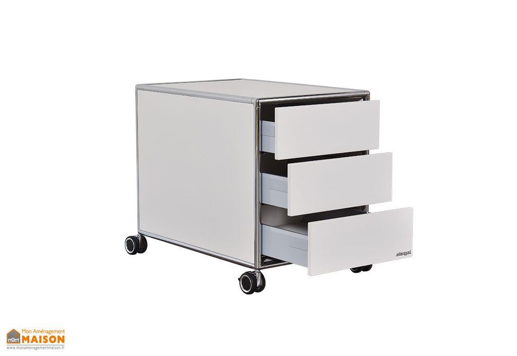 caisson de rangement a roulettes pour bureau 3 tiroirs