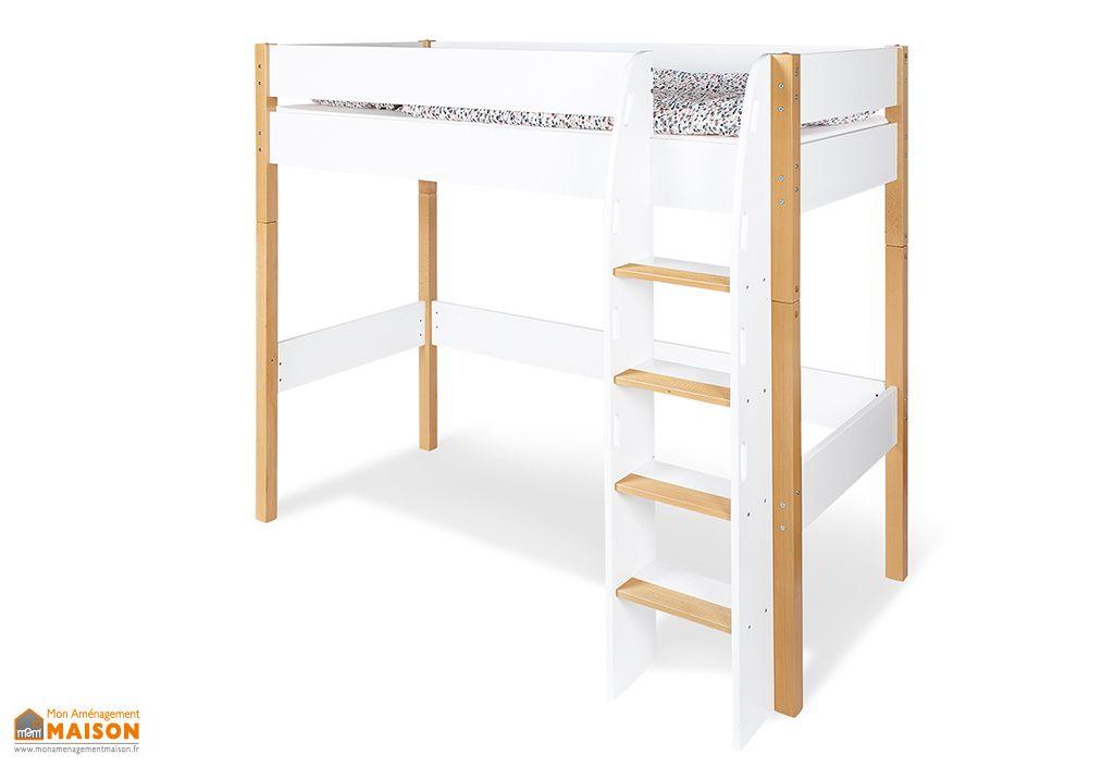 lit mezzanine pour enfant en bois ville 90 x 200 cm