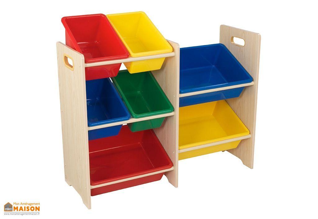 meuble de rangement bois pour enfant 7 casiers couleur