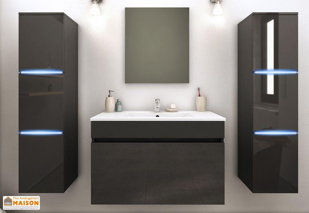 meuble de salle de bain simple vasque 2 colonnes led lecce pls col