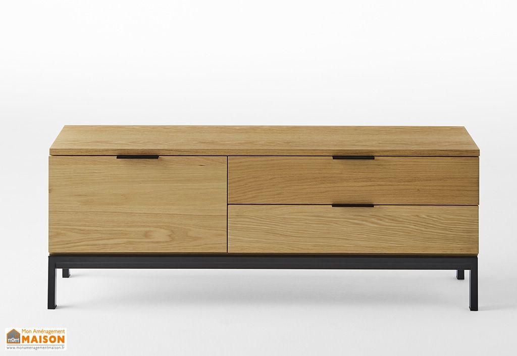 meuble tv en bois et metal 2 tiroirs 1 porte 120 cm chene