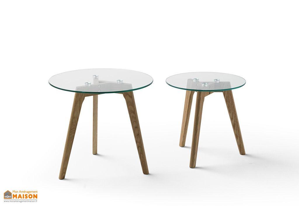 table basse de salon en verre et bois ronde lot de 2