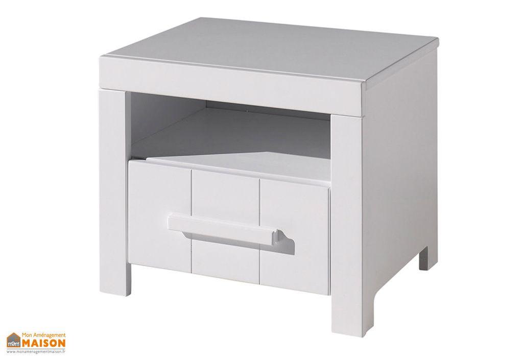 table de chevet en bois massif blanc 1 tiroir 39 x 50 cm erik