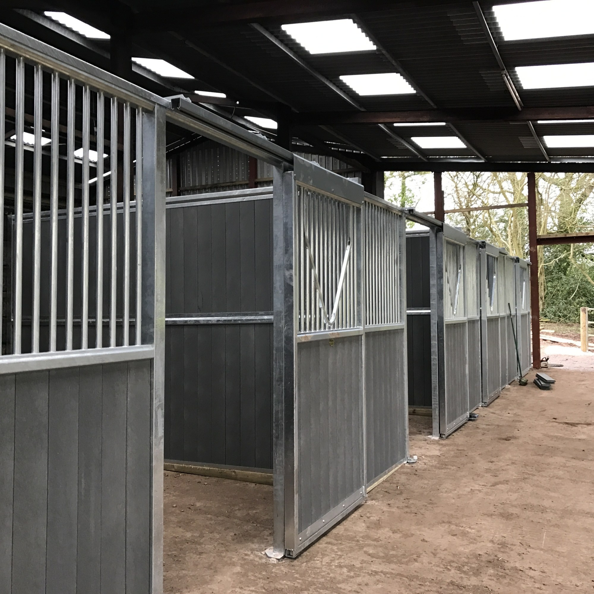 standard internal stables in grey plastic by monarch equestrian