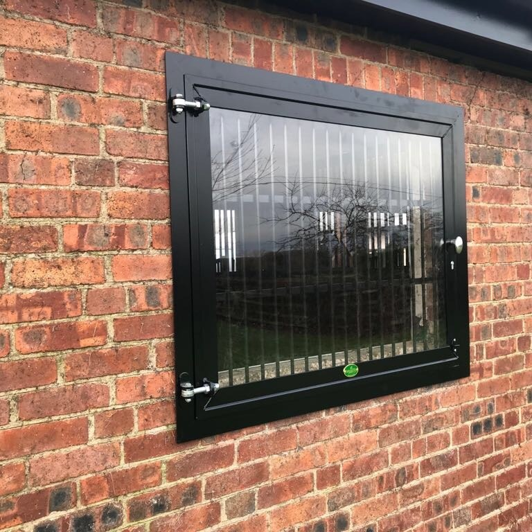 Black Powder Coated Laminted Glass Window By Monarch Equestrian