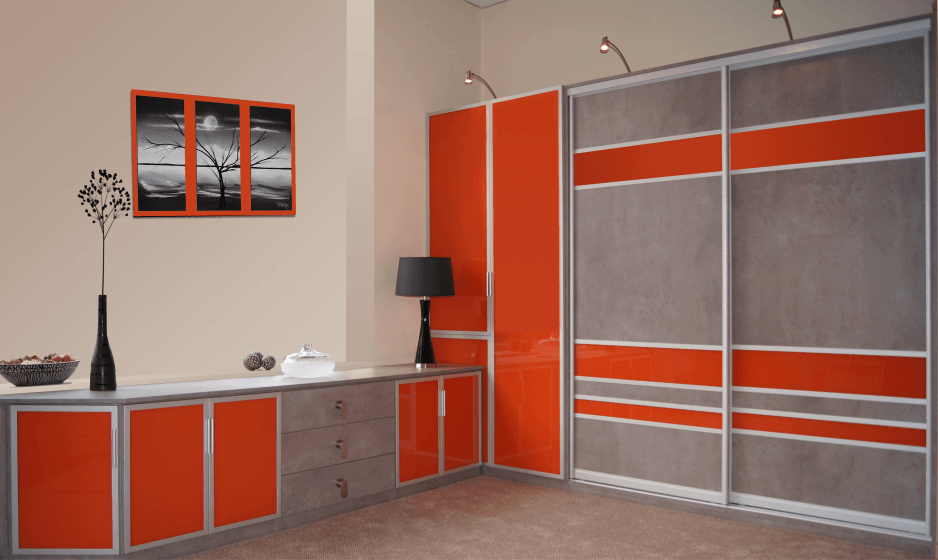 Oxford - Orange Glass with Concrete