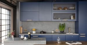 The kitchen trend of concrete worktops featured in this image