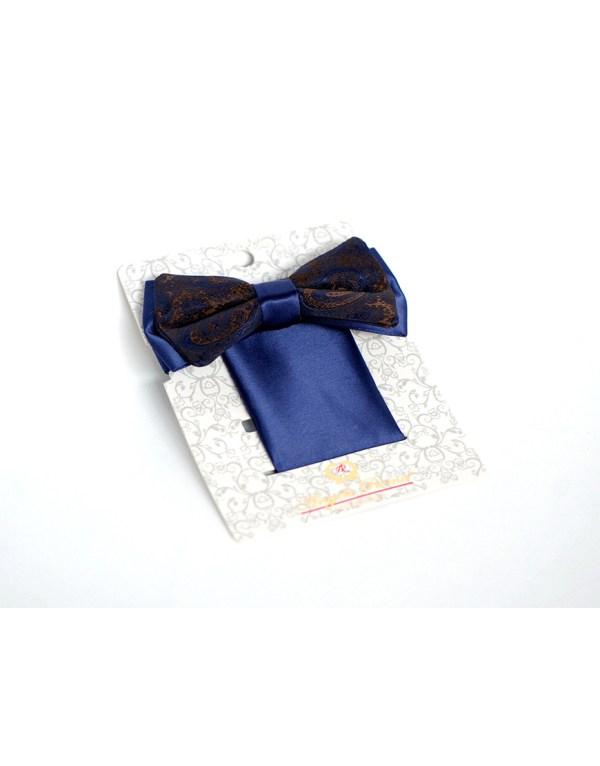 Papion Barbati Bleu Mire Microfibra Elegant Cu Imprimeu Maro 90 Lei
