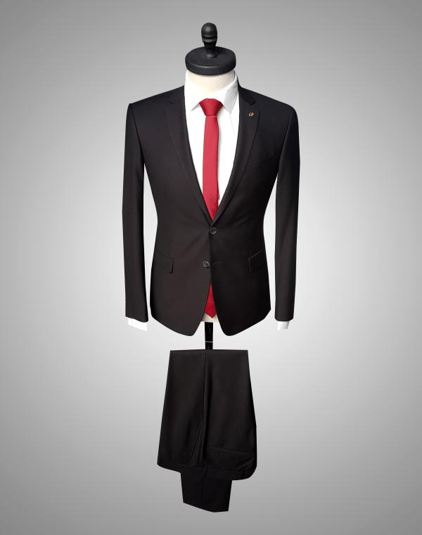 Costum Barbatesc Negru Lana 750 Lei