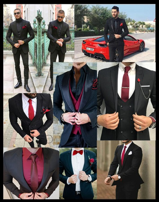 costum negru accesorii rosii