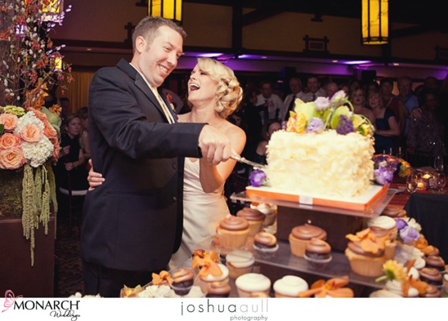 Lodge-at-torrey-pines-cake-cutting-orange-purple-weddng