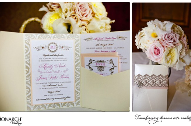 French-vintage-wedding-invitatios-with-lace-Westgate-Hotel