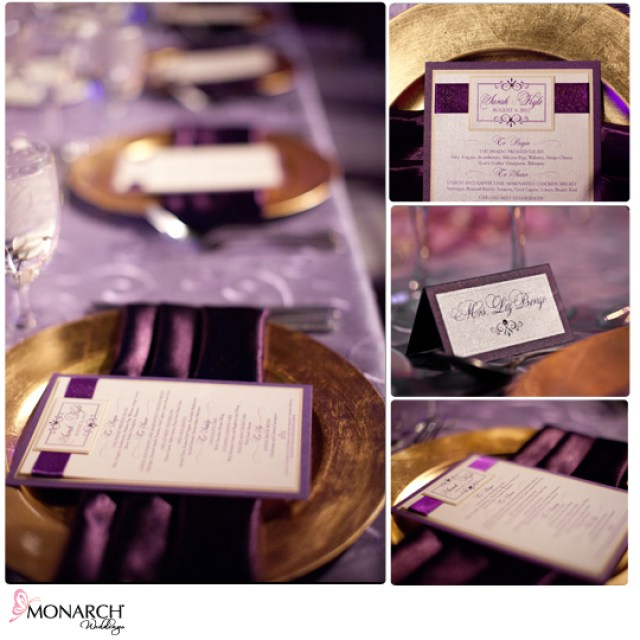 Gold-charger-plates-lavendar-swirl-linen-whimsique-menu