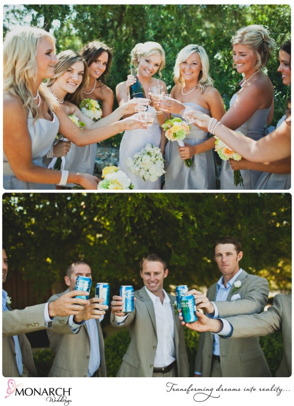 Bridal-party-cheers-rustic-chic-wedding-pale-blue-bridesmaids-dress