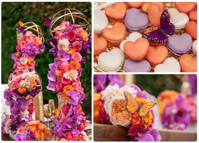 Purple-Phalaenopsis-heart-macaroons-monarch-butterfly