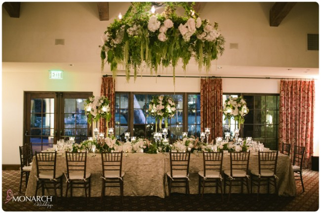 Rustic-garden-chic-wedding-floral-chandelier-rancho-santa-fe-golf-club-Head-table