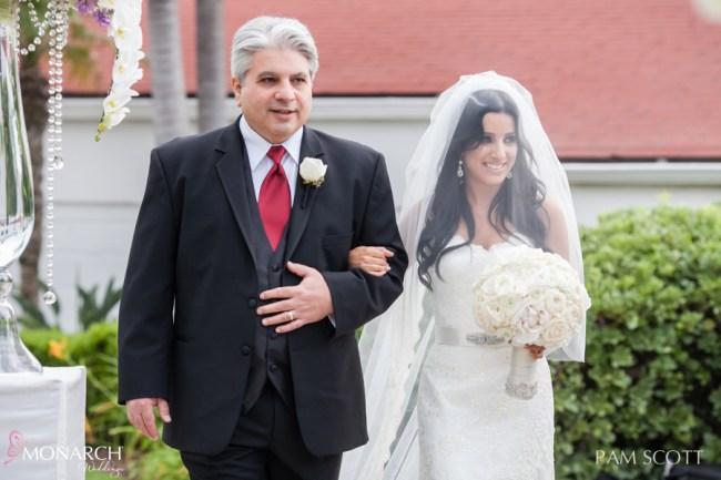 Father-daugther-walk-down-Vista-walk-ceremony-hotel-del-coronado-wedding
