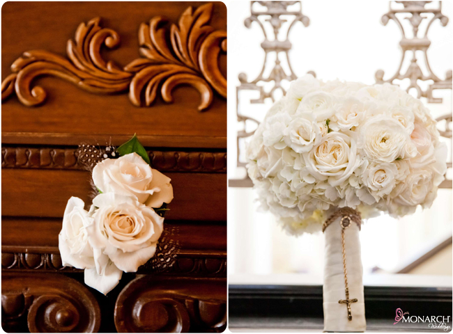 Boutineere-and-bridal-white-bouquet-rosary