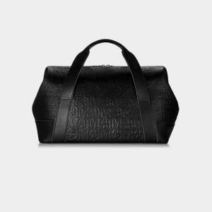 Monarchy London, Luxury Leather Goods for Stylish Men and Women. Men's and Women's luxury all black leather travel weekender bag.