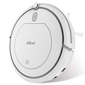 Aiibot Aspirateur Robot Aspiration Puissante, Nettoyage Automatique et Télécommande, Capteur Intelligent Anti-chute, Filtre HEPA, Excellent contre les Poils Animaux