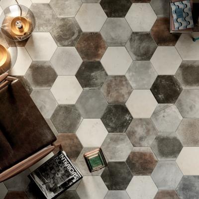carrelage sol hexagonal effet carreaux de ciment 24x27 7 dust grey naturel collection miami cir